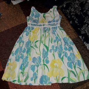 Lilly Pulitzer Girls 6 Iris Dress White Blue Yello